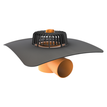 Vízszintes tetőösszefolyó megrendelésre készített integrált gallérral