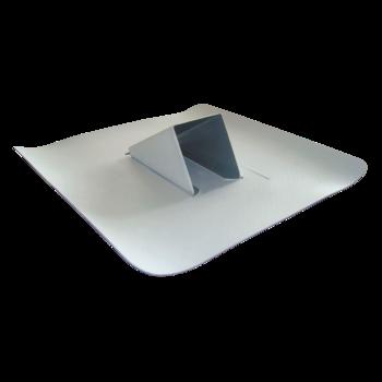 Világosszürke színű, acéllemez hófogó integrált vízszigetelés-csatlakoztató gallérral
