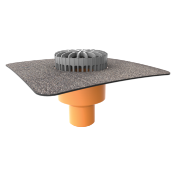 Függőleges teraszösszefolyó integrált bitumenes gallérral