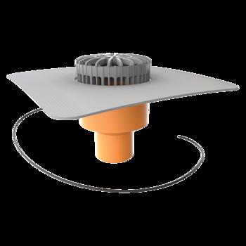 Függőleges fűthető teraszösszefolyó integrált PVC gallérral