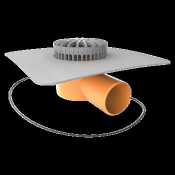 Vízszintes fűthető teraszösszefolyó integrált PVC gallérral