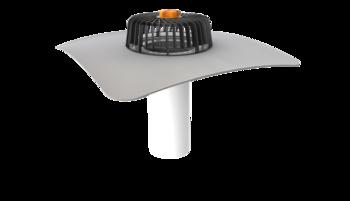 Nem hőszigetelt tetőkön alkalmazható egyfalú tetőösszefolyó integrált PVC gallérral
