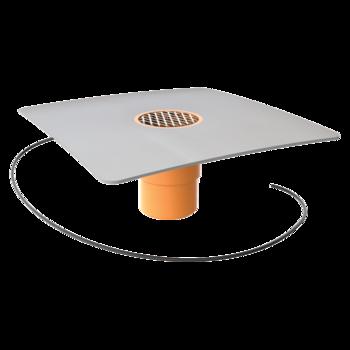 Függőleges fűthető erkélyösszefolyó integrált PVC gallérral