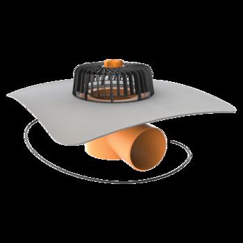 Vízszintes fűthető tetőösszefolyó integrált PVC gallérral