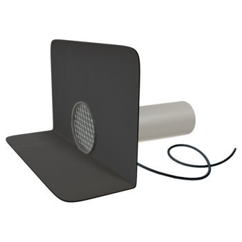 Fűthető kerek vízköpő megrendelésre készített integrált gallérral
