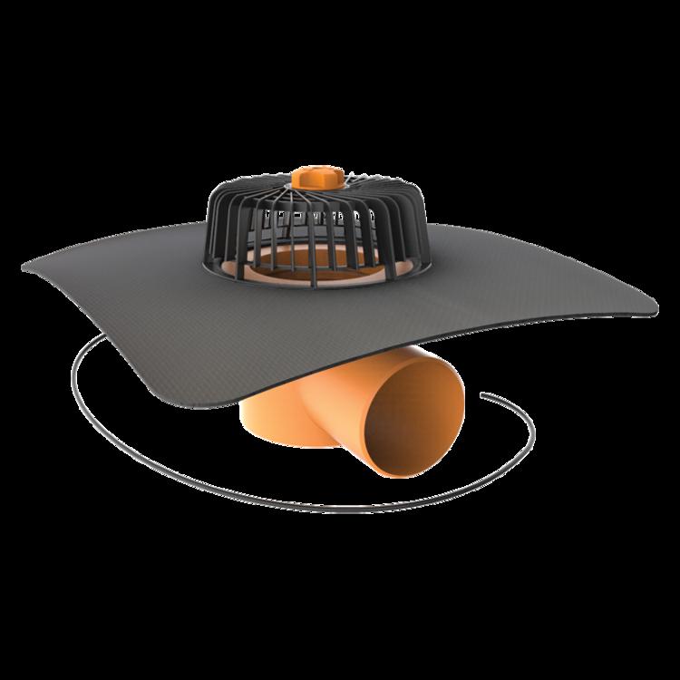 Vízszintes fűthető tetőösszefolyó megrendelésre készített integrált gallérral