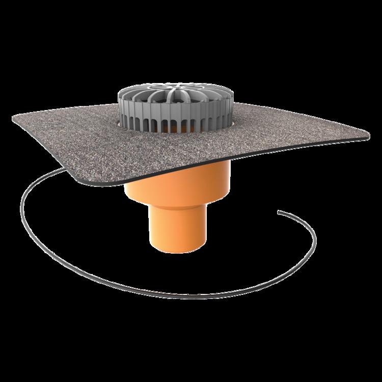 Függőleges fűthető teraszösszefolyó integrált bitumenes gallérral