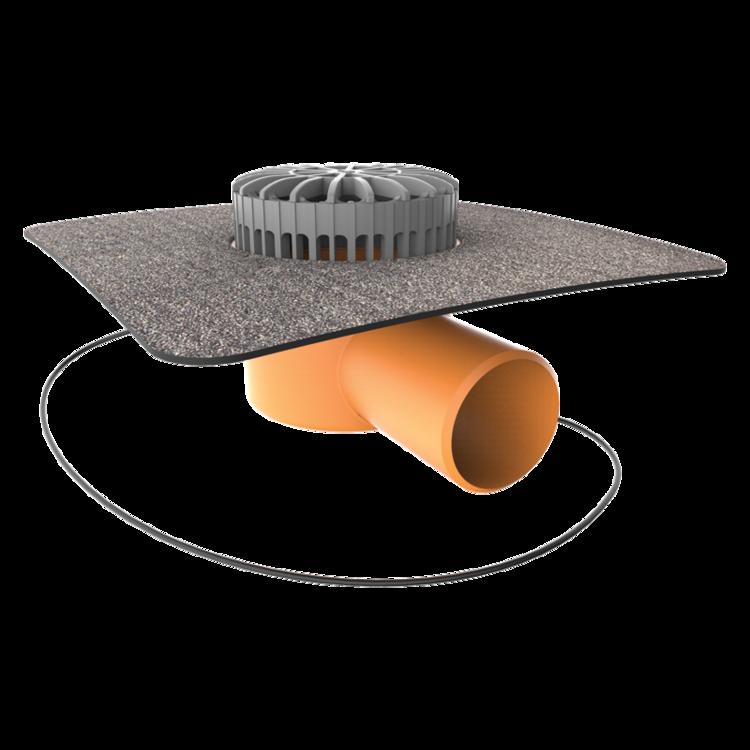 Vízszintes fűthető teraszösszefolyó integrált bitumenes gallérral