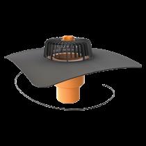 Függőleges fűthető tetőösszefolyó megrendelésre készített integrált gallérral