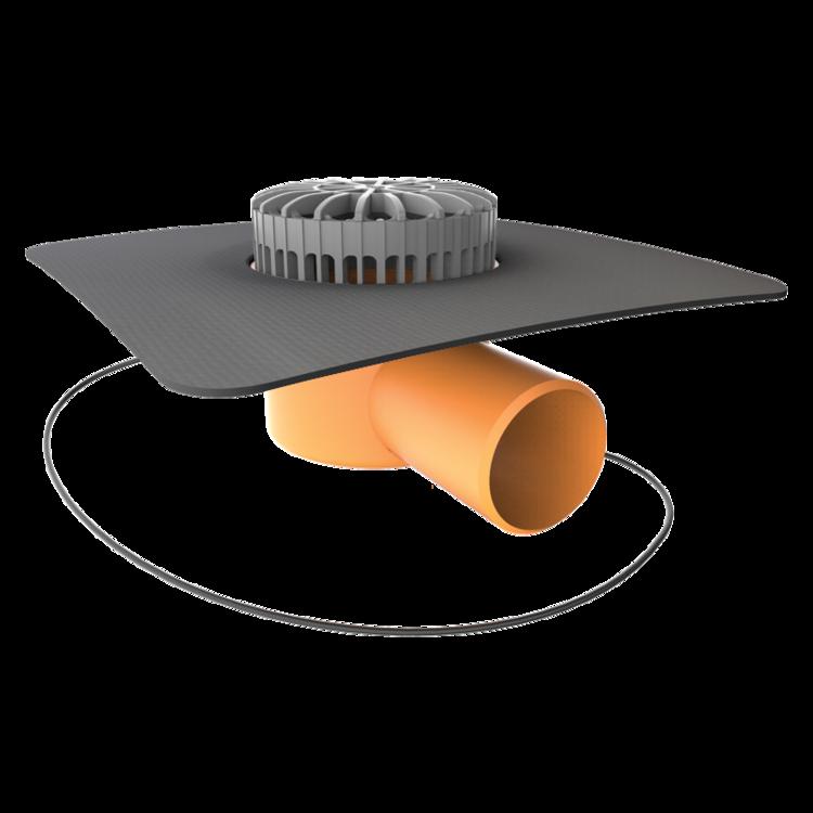 Vízszintes fűthető teraszösszefolyó megrendelésre készített integrált gallérral