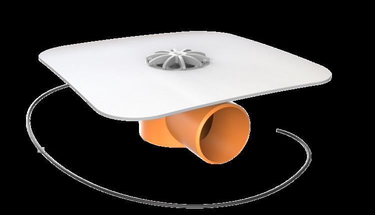 Vízszintes fűthető erkélyösszefolyó integrált PVC gallérral