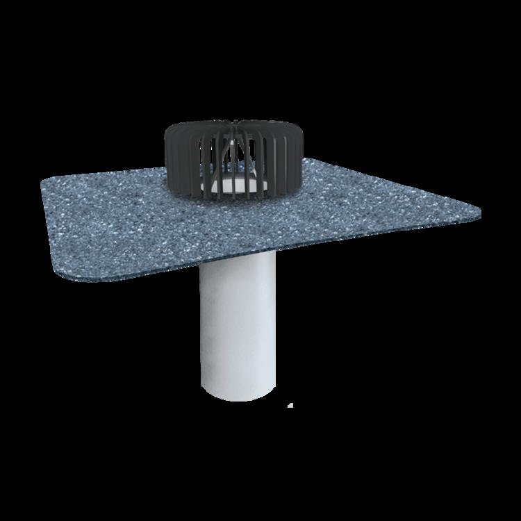 Nem hőszigetelt tetőkön alkalmazható egyfalú tetőösszefolyó integrált bitumenes gallérral