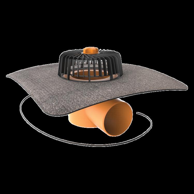 Vízszintes fűthető tetőösszefolyó integrált bitumenes gallérral
