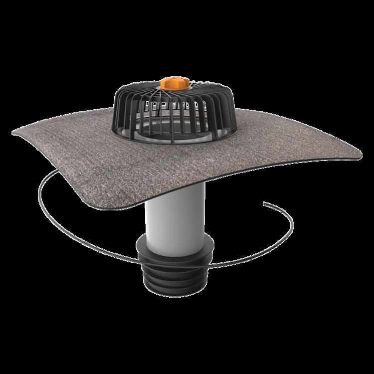 Függőleges fűthető javítási összefolyó integrált bitumenes gallérral