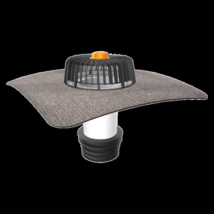 Nem hőszigetelt tetőkön alkalmazható javítási összefolyó integrált bitumenes gallérral