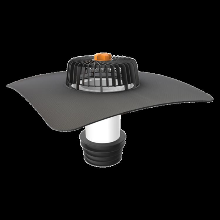 Nem hőszigetelt tetőkön alkalmazható javítási összefolyó megrendelésre készített integrált gallérral