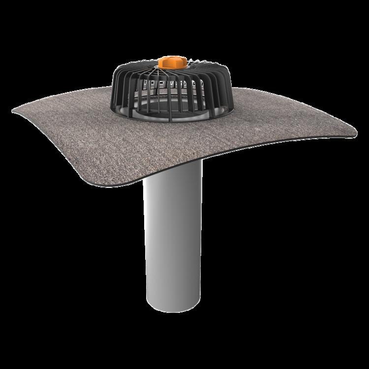 Egyfalú tetőösszefolyó integrált bitumenes gallérral