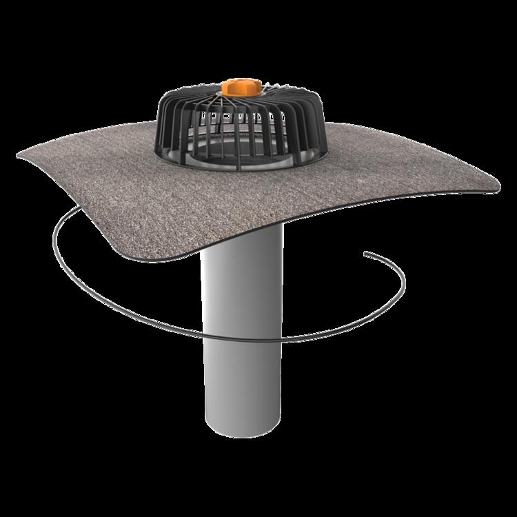 Egyfalú fűthető tetőösszefolyó integrált bitumenes gallérral