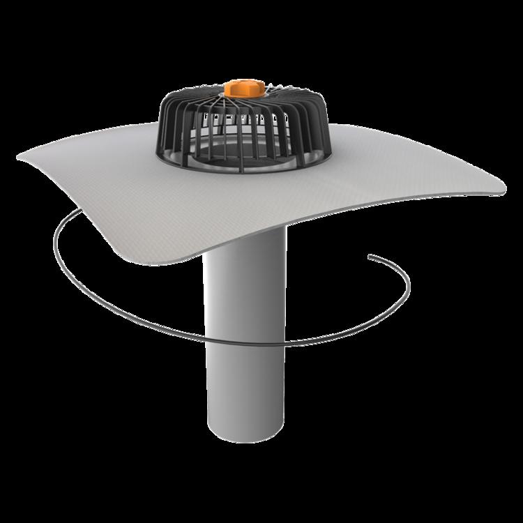 Egyfalú fűthető tetőösszefolyó integrált PVC gallérral