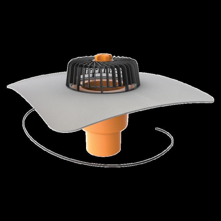 Függőleges fűthető tetőösszefolyó integrált PVC gallérral
