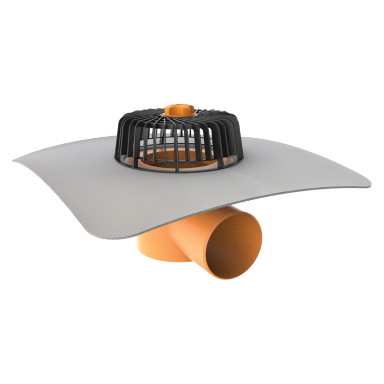 Vízszintes tetőösszefolyó integrált PVC gallérral