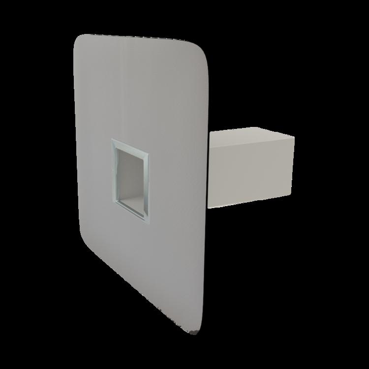 Szögletes biztonsági túlfolyó integrált PVC gallérral